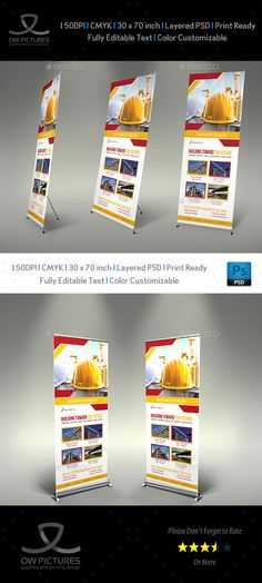 Construction Business Signage Roll Up Template PSD