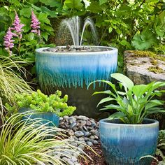Fountain in a blue ceramic pot