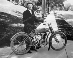 Harley Davidson Motorcycle Very Early Bike Vintage 8x10 Reprint Of Old Photo