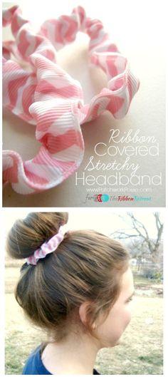 Ribbon Covered Stretchy Headband - The Ribbon Retreat Blog