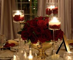 Red Rose Centerpiece Ideas For Christmas Wedding Red Wedding Flowers, Wedding Colors, Wedding Ideas, Wedding Table, Wedding Reception, Red Wedding Flower Arrangements, Red Centerpieces, Centerpiece Ideas, Centrepieces