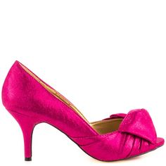 Just when you thought pumps couldn't get any cuter, the Better Yet shows up!  This Luichiny Red Carpet pump features a fuchsia sparkly satin with knotted vamp, peep toe and easy to walk in 4 inch heel.