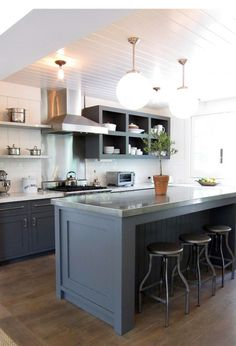 open kitchen shelves, gray painted lower cabinets