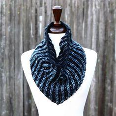 Brioche Bandana Cowl Knitting Pattern PDF instant download