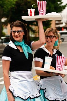 19 Halloween Costumes That Arent a Poodle Skirt via Brit + Co 50s Halloween Costumes, Sock Hop Costumes, Halloween Kostüm, Nerd Costumes, Vampire Costumes, Costume Ideas, 1950s Costumes, Cosplay Ideas, Fifties Party