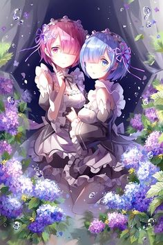 Image d'anime 				600x900 avec  		re:zero kara hajimeru isekai seikatsu 		rem (re:zero) 		ram (re:zero) 		kyurin (sunnydelight) 		tall image 		blush 		short hair 		looking at viewer 		blue eyes 		open mouth 		smile 		multiple girls 		fringe 		blue hair 		bare shoulders 		pink hair 		pink eyes 		bent knee (knees) 		maid 		hair over one eye