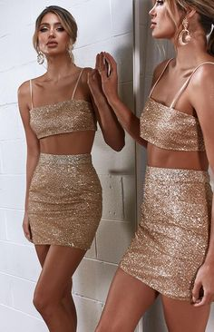 Skirts - Shop Mini, Midi & Wrap Skirts Online - Beginning Boutique Denim Skirt Outfit Party, Party Skirt, Night Outfits, Fashion Outfits, Champagne Color Dress, Looks Party, Fiesta Outfit, Glitter Outfit, Straps Prom Dresses