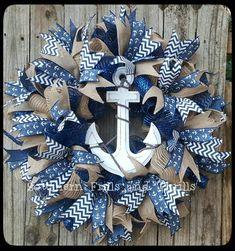 Nautical Wreath-Beach Wreath-Anchor Wreath-Summer Wreath-Burlap Wreath-Mesh Wreath-Nautical Decor-Beach Decor-Navy Wreath-Front Door Wreath by SouthernThrills on Etsy-DIY Wreath-How to make a wreath-How to make a Deco Mesh Wreath