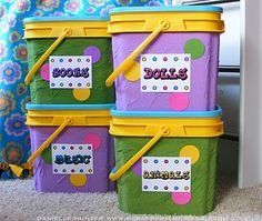 toy storage using cat litter containers