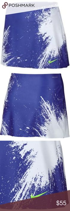 """Nike Court Tennis Skort Nike Court Power Spin 13"""" Sample* Tennis Skirt with Built-in Undershorts Fabric: 80% Cotton/20% Polyester  Product Key Features Size (Women's) M MaterialPolyester Made in China Color Paramount Blue and Ghost Green Size Type Regular Sport Tennis, Golf Nike Shorts Skorts"""