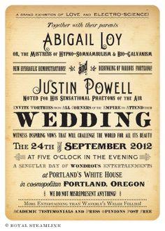 Steamside Wedding Invitation by Royal SteamlineRoyal Steamline