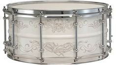 """Ludwig 14 x 6.5"""" Corey Miller Signature Snare Drum with white powder-coated steel shell and hand-drawn Laser-engraving. Features chrome tube lugs and 2.3mm triple-flange hoops."""
