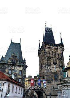 Towers of Charles Bridge in Prague royalty-free stock photo