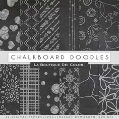 Chalkboard Doodles Digital Papers