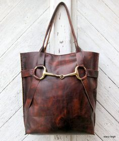 Equestrian Brass Horse Bit Tote Bag in Leather Bow Tote in Vintage Patina Leather by Stacy Leigh Ready to Ship