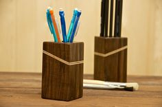 Walnut and plywood pencil holder.