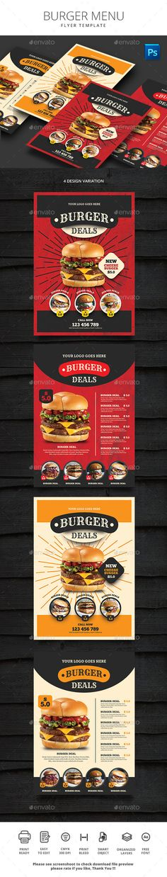 Buy Burger Menu by monggokerso on GraphicRiver. Burger Menu Flyer File Features : Size + Bleed area CMYK / 300 dpi Easy to edit text Well organized PSD . Food Menu Template, Menu Templates, Burger Menu, Menu Flyer, Fast Food Menu, Menu Printing, Restaurant Menu Design, Drink Menu, Print Templates