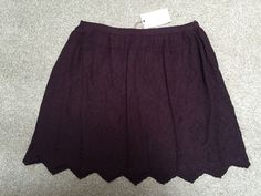 M&S INDIGO Collection PURE MODAL Summer Lined SKIRT BNWT UK10 Embroidered Claret