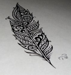 feather mandala henna pattern tattoo