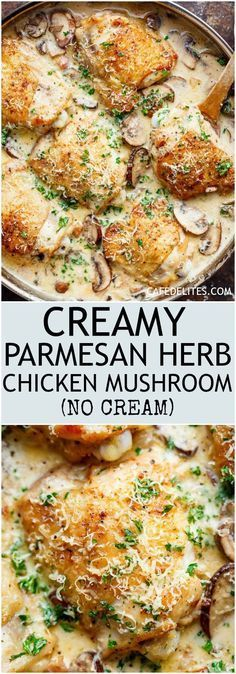 A thick and lightened up Creamy Parmesan Herb Chicken Mushroom with a kick of garlic is your new favourite dinner recipe! With NO heavy cream — or ANY cream — at ALL! | http://cafedelites.com
