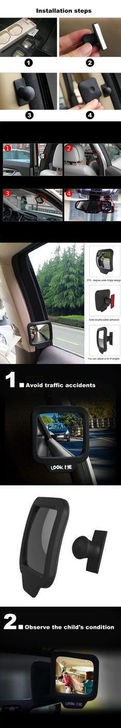 Newest 1 Pc Adjustable 270 Degree Wide-angle Lens Design Car Rear Seat Rearview Mirror Backseat Blind Spot Mirror Car-styling