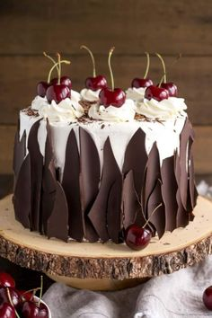 Chocolate, cherries, creamy icing