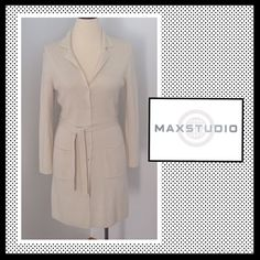 🎀HP🎀MAX STUDIO Long Button down sweater w/belt MAX STUDIO Long Button down sweater with belt. Color is cream. Fabric content 85% Acrylic, 15% Nylon. Excellent condition. Like new! Max Studio Sweaters