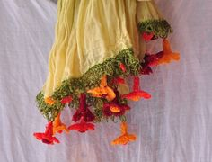 Cotton scarf with orange flower crochet by forgoodpeople on Etsy, $30.00