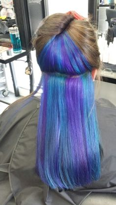 Blue and purple hair  under layer