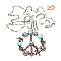 Gleader 2 PCS x Vintage Pearl Beads Rhinestone Peace Sign Symbol Chain Pendant Necklace-Bronze ** Click on the image for additional details.