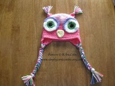 Owl Hat Pattern us and uk Terms Crochet por Simply2Irresistible