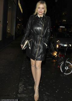 Laura Whitmore looking fab in the all leather coat-no trousers look with her  #gerarddarel zip-up coat