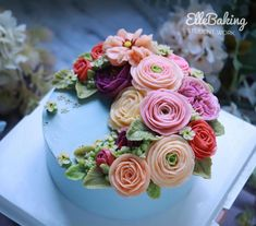 "ElleBaking FlowerCake on Instagram: ""Glossy Buttercream Flower by student thank you all of you kha... IG: ellebaking_flowercake FB: ellebaking  Tel: 0842987461,0982624965…"" Buttercream Flower Cake, Cake Cookies, Birthday Cake, Student, Cakes, Desserts, Instagram, Food, Ornaments"