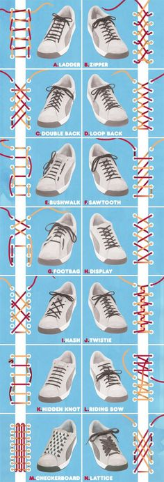 to School} Great how to graphic on how to tie shoe laces Cool ways to lace up your shoes! Cool ways to lace up your shoes! Ways To Lace Shoes, How To Tie Shoes, Your Shoes, How To Lace Converse, How To Tie Tie, Diy Lace Shoes, Tie A Tie Easy, Converse Laces, Converse Outfits