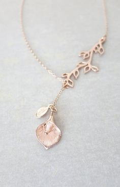 Rose Gold Branch, Calla Lily Flower, Leaf, Lariat, Y Necklace - rose gold flower garden Wedding bridal bridesmaid necklace, best friend, www.colormemissy.com