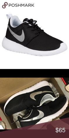 ROSHE BLACK SLIVER WHITE BRAND NEW ! GRADESCHOOL 7y also a women's 8.5/9 or 6.5y women's 8/8.5 100% authentic ! 100 % guaranteed!  NO LOW BALLING !   Please! IF YOU NEED A SIZE AND WOULD LIKE TO ORDER IT PLEASE COMMENT BELOW I WILL CHECK FOR YOU!  If u need more pics let me know!  Just a quick reminder.   Also no trades only looking to sell my items.   Feel free to comment a responsible price.  Tags: Nike, Nike track pants, Jordan   Thank you for looking at my listing :)  Stephiejayy Nike…