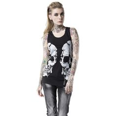 "Rock Rebel by EMP Top, Mujer ""Double Skull"" Negro • EMP"