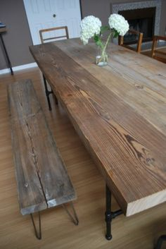 Reclaimed Wood and Steel pipe leg Table and hairpin leg bench - Eclectic - chicago - by Urban Wood Goods Reclaimed Wood Dining Table, Dining Table Chairs, Wood Table, Pipe Leg Table, Table Legs, Design Tisch, Diy Coffee Table, Pipe Furniture, Farmhouse Table