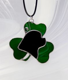 Pendant Newfoundland Dog with Shamrock, Stained Glass Jewelry, Tiffany technique…