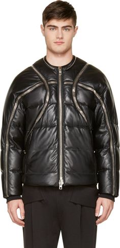 Givenchy - Black Leather Zip Trim Down Bomber Jacket