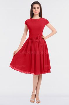 Red Modest A-line Short Sleeve Zip up Flower Bridesmaid Dresses (Style D28431)