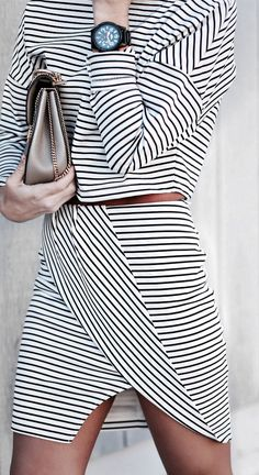 Two piece stripy, asymmetric suit. #stylechat #style