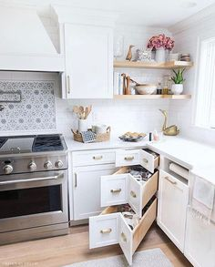 These corner kitchen drawers are genius! So much better than a lazy Susan! diy kitchen decor Best of Driven by Decor Kitchen Room Design, Home Decor Kitchen, Interior Design Kitchen, Kitchen Furniture, Home Kitchens, Small Kitchens, Kitchen Corner, Kitchen Designs, Small Kitchen Islands