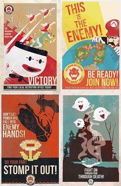 Mario Propaganda poster, in old-retro-mid-century style. Super Mario Bros, Mundo Super Mario, Geeks, Graffiti Kunst, Ww2 Posters, Political Posters, Room Posters, Movie Posters, Art Watercolor