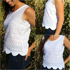 Collette Sorbetto Top- The site includes a link to the free pattern.