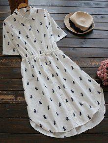 Button Up Printed Drawstring Waist Shirt Dress (Purplish blue) Stylish Dress Designs, Stylish Dresses, Cute Dresses, Casual Dresses, Midi Dresses, Dress Outfits, Fashion Dresses, Casual Frocks, Camisa Formal