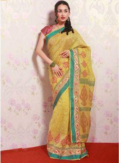 Glamorous Yellow Color Silk & Net Based Printrd #Saree #clothing #fashion #womenwear #womenapparel #ethnicwear