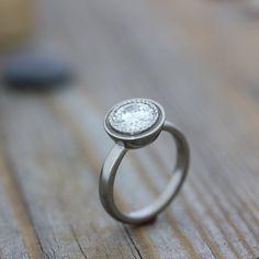 Moissanite White Gold Engagement Ring 14k by onegarnetgirl