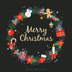 merry christmas Christmas wreath decorated with christmas elements Free Vector Merry Christmas Wishes, Christmas Quotes, Christmas Design, Christmas Pictures, Christmas Art, Christmas Greetings, Christmas Wreaths, Christmas Decorations, Xmas