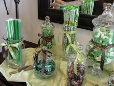 A green and brown candy buffet - the shower favors Lime Slush Punch Veggie Tray Spinach Artichoke Dip wit. Unisex Baby Shower, Baby Boy Shower, Baby Shower Gender Reveal, Baby Shower Themes, Shower Ideas, Shower Favors, Shower Party, Green Candy, Candy Brown